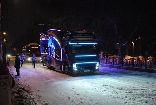 Автобус с плюшками для эстафеты олимпийского огня