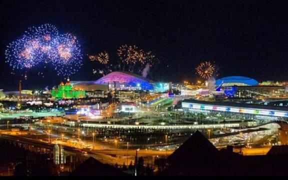 Салют в честь открытия 22-х Зимних Олимпийских игр